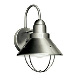 Kichler Nickel Energy Star Outdoor Wall Sconce - Not only does the mudroom itself need to stand up to all that a family can throw at it, but the lighting must be durable too. My advice is to consider outdoor lighting for a mudroom. Fixtures that have a protective frame around the light bulb are a good idea just in case rough play or runaway balls make their way inside.