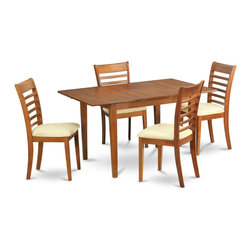 """East West Furniture - 5Pc Set Picasso Dining Table and 4 Milan Padded Seat Chairs - 5Pc Set Picasso Table with 12 in Butterfly Leaf and 4 Milan Padded Seat Chairs; These Picasso kitchen sets are beautifully crafted and rich with a warm saddle brown color.; This sleek, yet traditional dinette set contains no plastic, which makes it efficient and environmentally friendly.; The Picasso table & chairs each have a glossy finish, complete with subtle, perfectly beveled edges.; These dinette sets make a cozy addition to any kitchen or conventional dining room and provide seating for up to six people.; Choose between wood and microfiber upholstered seats depending on which table & chairs set fits your ktichen or dining room style.; Weight: 137 lbs; Dimensions: Table: 48 - 60""""L x 32""""W x 30""""H; Chair: 18""""L x 17.5""""W x 38""""H"""