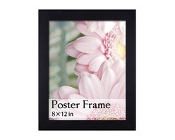 None - Black Wooden Poster/ Picture Frame (8 x 12 inches) - This black poster/picture frame is designed to hold larger images up to 8 x 12 inches,either vertically or horizontally. All the hanging accessories are included; made of MDF wooden material with a clear plexiglass cover.