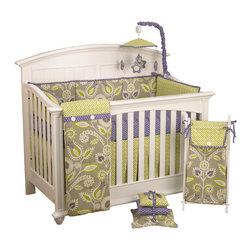 Cotton Tale Designs - Periwinkle 8pc Crib Bedding Set - Periwinkle 8pc crib bedding collection by Cotton Tale Designs is an attractive combination of geometric and floral patterns that combine greens and periwinkle to create a soft, relaxing and inviting nursery.
