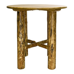 """Montana Woodworks - Montana Woodworks Bistro Table in Glacier Country - Revel in the natural beauty of this classic style bistro table. Handcrafted using solid, American grown wood, the large lodgepole pine legs ensure this table's timeless beauty and durability. The bistro table is nicely complimented by any of Montana Woodworks barstools. (Sold separately) Table top is 45"""" diameter and 40"""" high. Table top is available in round, square or octagonal. Finished in the """"Glacier Country"""" collection style for a truly unique, one-of-a-kind look reminiscent of the Grand Lodges of the Rockies, circa 1900. First we remove the outer bark while leaving the inner, cambium layer intact for texture and contrast. Then the finish is completed in an eight step, professional spraying process that applies stain and lacquer for a beautiful, long lasting finish. Comes fully assembled. 20-year limited warranty included at no additional charge."""