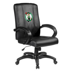 Dreamseat Inc. - Boston Celtics NBA Home Office Chair - Check out this Awesome - it's one of the coolest things we've ever seen. Features a zip-in-zip-out logo panel embroidered with 70,000 stitches. Converts from a solid color to custom-logo furniture in seconds - perfect for a shared or multi-purpose room. Root for several teams? Simply swap the panels out when the seasons change. This is a true statement piece that is perfect for your Man Cave or Home Office, and it's a must-have for the person who wants to personalize their work space.