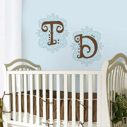 RR - On Sale Mod G Monogram Pre-Pasted Wall Mural in Blue - ON SALE Mod G Monogram Pre-Pasted Wall Mural in Blue