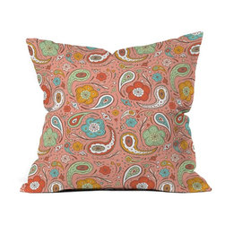 DENY Designs - DENY Designs Heather Dutton Adora Paisley Outdoor Throw Pillow - 13541-OTHRP18 - Shop for Cushions and Pads from Hayneedle.com! Keep your patio design fresh - and just a little funky - with this DENY Designs Heather Dutton Adora Paisley Outdoor Throw Pillow. Crafted with water- and mildew-proof woven polyester this square throw pillow boasts a vintage-inspired paisley pattern in shades of coral gold and green. Toss it on your favorite chair or lounger indoors or out. Spot clean with mild detergent. Available in 18- and 20-in. sizes.About DENY DesignsDenver Colorado based DENY Designs is a modern home furnishings company that believes in doing things differently. DENY encourages customers to make a personal statement with personal images or by selecting from the extensive gallery. The coolest part is that each purchase gives the super talented artists part of the proceeds. That allows DENY to support art communities all over the world while also spreading the creative love! Each DENY piece is custom created as it's ordered instead of being held in a warehouse. A dye printing process is used to ensure colorfastness and durability that make these true heirloom pieces. From custom furniture pieces to textiles everything made is unique and distinctively DENY.