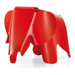 Vitra - Vitra Eames Elephant | Design Public - Designed by Charles and Ray Eames in 1945 but never before put into production, this playful pachyderm is constructed of durable plastic. Add a whimsical stool or tiny table to your child's bedroom, or put in the playroom to encourage elephant rides! This lightweight piece can easily be carried to the backyard for an insta-picnic.