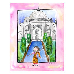 "Oh How Cute Kids by Serena Bowman - Girl in India, Ready To Hang Canvas Kid's Wall Decor, 8 X 10 - ""Namaste!""  I love to travel. LOVE LOVE LOVE to TRAVEL. I love everything about it - new food, new streets, new people - I think it is best to way to experience life. This is part of my Travel Girl series that started out as a shout out to all the places I have been!  I hope you enjoy my art as much as I enjoyed making it.  Been to India - interesting country, fabulous food, blazing hot for two weeks in May - I mean a 104 degrees at night ( genius here first wore blues jeans- you know,  the lightest weight fabric known to man ( not!) -I now understand why cotton is the fabric of our life) but just for those two weeks -  never thought 90 degrees is a cold front until then!"