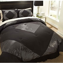 Divatex Home Fashions Shiny Dot Hem Bedding Set - Black and Silver - A bedding set fit for the king of rock and roll himself, the glitzy Divatex Home Fashions Shiny Dot Hem Bedding Set - Black and Silver will have your bedroom ready for Vegas. The soft microfiber fabric feels amazing, and the fun and funky metallic dot pattern adds a little bedazzled style to your bed. You choose the size.About Divatex Home Fashions Inc.Initially a family owned and operated business, Divatex has far outgrown its humble beginnings in 1990 and has expanded the world over. Divatex is constantly looking to improve its products and examines both emerging trends and technologies in the textile industry and consumer marketplace. For the bedroom and bath, from sheets to towels, Divatex is quickly becoming an industry giant, while still remaining committed to quality and customer service.