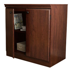 South Shore - South Shore Morgan Transitional Style Storage Cabinet in Royal Cherry - South Shore - Storage Cabinets - 7246722 - This Morgan storage cabinet in Royal Cherry finish is stylish practical and perfect for all storage needs. It can fit well in any kind of room whether if it's the office bedroom basement or even the garage. It features 1 adjustable shelf and has metal knobs in a black finish. Pair it with the rest of the Morgan collection or use 2 or more units side by side to form a well organized decor. Manufactured from certified Environmentally Preferred laminated particle panels. Complete assembly required by 2 adults. Tools are not included.  5-Year limited warranty.