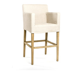 Avignon Slipcover Bar Stool - Natural Oak with Natural Linen - The structured, yet chicly draped look of a tailored slipcover is well-suited to the exclusive feel granted by designer barstools in a kitchen or dining room.  The Avignon Slipcover Bar Stool is essentially a comfortable straight-backed armchair on sturdy tall legs.  Made from linen and visibly grained oak, this stool for luxury lifestyles makes perching at the counter a chic experience.