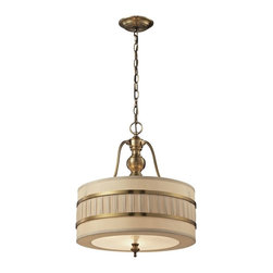 Elk Lighting - Elk Lighting-31386/3-Luxembourg - Three Light Pendant - The Luxembourg collection blends classic detailing with modern design. This series has a pleated cream fabric drum shade accented with metal rings and traditional hardware finished in Brushed Antique Brass.