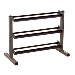 Body-Solid GDR363 3 Tier Horizontal Dumbbell Rack - Don't trip over dumbbells - keep them organized on this smart storage rackDurable heavy-gauge steel with all-sides welded construction deburred inside and outside for safety3 tiers can hold 1 pair each of 5 to 50 lb dumbbellsSized to fit up against walls or take center stage in exercise roomsManufacturer's warranty included - see Product Guarantee area for complete detailsAbout Body SolidBody Solid has been making high-quality strength training and exercise equipment for over 20 years. Designed for today's workouts Body Solid machines feature innovative technology and distinctive styling that suits your home. Body Solid equipment meets the challenges of today's busy lifestyle while providing you with the utmost in advanced home exercise. From space-saving designs that suit any room to full-sized gym systems with every available station Body Solid gives you the features you want at a price you can afford. All components of all machines are covered by a lifetime manufacturer's warranty; something you won't find from any other manufacturer in the industry.