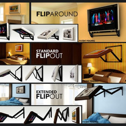Hidden Vision TV mounts - Most methods of hiding a TV, such as TV lifts, TV mirrors, and moving art covers average anywhere from $1000 to $10,000 and require costly modifications to your home or furniture.  The Flip-Around is an  affordable alternative that is as easy to install as any standard TV mount. All aspects of the installation process from installing the mount on the wall, to installing the TV, cables, and cover to the mount are designed to be easy enough that owners can do it with basic household tools
