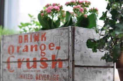 Eclectic  vintage crate planter