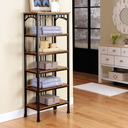 Home Styles Modern Craftsman 6-Tier Shelf - Oak / Brown - Distinguished arts and crafts style comes naturally to the Home Styles Modern Craftsman 6-Tier Shelf - Oak / Brown, a streamlined storage piece with six fixed shelves to house display items or necessities in practically any space: bedroom, bathroom, entry, kitchen, or living space. The thoughtfully decorative brown powder-coated metal frame bears gold highlights. Each shelf offers 20.75W x 7.75D inches of storage space. Added stability is achieved by levelers in the feet. Some assembly is required.About Home StylesHome Styles is a manufacturer and distributor of RTA (ready to assemble) furniture perfectly suited to today's lifestyles. Blending attractive design with modern functionality, their furniture collections span many styles, from timeless traditional to cutting-edge contemporary. The great difference between Home Styles and many other RTA furniture manufacturers is that Home Styles' pieces feature hardwood construction and quality hardware that stand up to years of use. When shopping for convenient, durable items for the home, look to Home Styles. You'll appreciate the value.