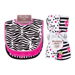 "Trend Lab - Bouquet Set - Zahara - Bib & Burp Cloth - Keep messes to a minimum with this stylish Zahara Bib and Burp Cloth Set by Trend Lab. Set includes three bibs and four burp cloths each with fun, modern printed cotton on the front and terry on the back. Bib patterns include: one black and white zebra print with paradise pink trim; one with solid paradise pink rosette velour and paradise pink trim; and one black and white stripe print with paradise pink and electric lime floral accents with black satin trim. Burp cloth patterns include: one black and white zebra print; one black and paradise pink confetti dot print on a white background; one black and white stripe print with paradise pink and electric lime floral accents; and one that has solid paradise pink rosette velour. Each bib measures 9"" x 12"" with Velcro closure and each burp cloth measures 10"" x 13"". Bib and Burp Cloth Set coordinates with the Zahara collection by Trend Lab."
