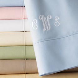 """SFERRA - SFERRA Italian 500-Thread-Count Percale Sheets - Exclusively ours. Made in Italy of 500 thread-count Egyptian cotton percale, these exquisite sheets have Sferra's signature """"punta ombre"""" hem and are available in a variety of hues; choose color below. Flat sheets and cases may be monogrammed, if des..."""