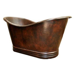 Copper Bathtubs - Hammered Copper Slipper Bathtubs with rings are handmade individually one by one by Artisans taught by their ancestors.