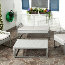 Safavieh - Safavieh Shawmont Conversation Set - FOX6010A - Shop for Tables and Chairs Sets from Hayneedle.com! Kick back and relax in the Safavieh Shawmont Conversation Set as you and your friends really sink into casual congenial conversation. This set is specifically designed to set loungers at ease with slightly angled seats and comfortable Terylene fabric cushions. Whether you're serving coffee and tea or evening nightcaps the roomy coffee table provides plenty of surface space for everyone to be able to set their drinks and plates down.About SafaviehConsidered the authority on fine quality craftsmanship and style since their inception in 1914 Safavieh is most successful in the home furnishings industry thanks to their talent for combining high tech with high touch. For four generations the family behind the Safavieh brand has dedicated its talents and resources to providing uncompromising quality. They hold the durability beauty and artistry of their handmade rugs well-crafted furniture and decorative accents in the highest regard. That's why they focus their efforts on developing the highest quality products to suit the broadest range of budgets. Their mission is perpetuate the interior furnishings craft and lead with innovation while preserving centuries-old traditions in categories from antique reproductions to fashion-forward contemporary trends.