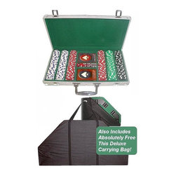 Trademark Poker - Poker Table Top & Dice-Striped Chips Set w Al - Set includes Poker Tabletop & Aluminum case for Casino chips. Tabletop:. Black nylon carrying bag included. Heavy duty 2-Way zipper. Double strap handle. With removable trays and drink holder/ul>. Case:. Aluminum Silver. Holds 300 chips, 2 Decks of cards and 5 diceThese 300 Chips are 39 mm. Dia. casino-sized chips and are 11.5 g. in weight. They are produced from a composite resin and an insert that gives them the weight of a heavy casino quality chip. The detail on these chips is great. The dice and striped around the chip as well as the detail on the edge edge of the chip add to the great appearance! With your set of chips you will receive 5 dice and 2 decks of cards. Your Chips will be protected in this aluminum case. It will provide the most protection for your investment. It is made of heavy duty, yet lightweight aluminum available in brilliant Silver. The interior is Green velour with space for 300 chips, 2 decks of cards and 5 dice. Playing cards depicted are subject to change without notice. It is at our discretion to replace playing cards with a similar product of equal or higher quality at any time. The handles are securely riveted for long lasting use. This is the chip case that will last a lifetime. The color and quantity shown are the most popular and have been pre-selected for you, however, you can make changes per your requirements. This table top is very convenient and is solid and durable. One side is a 8-Player position poker table complete with individual trays for poker chips and a drink holder. These trays are removable and fit into the other side of the table which is a Black jack table on the opposite side. The Blackjack table has the standard Las Vegas style markings on the high quality Green felt. This table top has a really nice feel to it. The best thing about this table top is its convenience. It is very easy to travel with as it fits into the trunk of a car. Its not very h