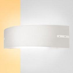 "Leucos - Belt Wall Sconce - Product Details:     The Belt Wall Sconce from Leucos is designed by Leucos Design and is available in a White color with a polished chrome finish. UL Listed.  Details:                                Manufacturer:                            Leucos                                                            Designer:                            Leucos Design - 2005                                                Made in:                            Italy                                                Dimensions:                            Height: 5.8"" (15cm) X Width: 23.5"" (60cm)                                                              Light bulb:                                          2 X 24W 2G11twin Fluorescent                                                Material:                            metal, glass"