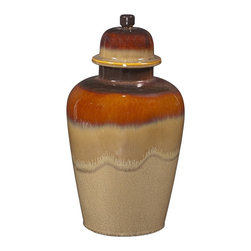 Howard Elliott - Glossy Mocha & Merlot Ceramic Jar w/Lid - Large - Glossy Mocha and Merlot Ceramic Jar with lid.