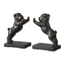 Uttermost - Uttermost 19643 Bulldogs Cast Iron Bookends Set of 2 - Uttermost 19643 Bulldogs Cast Iron Bookends Set of 2