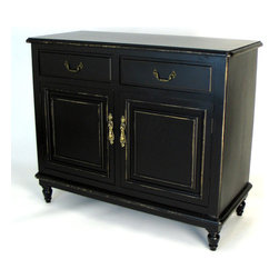 Wayborn - Buffet Cabinet in Distressed Antique Black - Features: -Material: Pinus Sylvester's.-Traditional style.-Brass hardware.-Simple, decorative art with a vintage feel.-Strong and durable.-Color: Antique Black.-Antique look with a smooth finish.-Distressed: Yes.Dimensions: -35'' H x 42'' W x 18'' D.-Overall Product Weight: 77 lbs.Assembly: -Assembly required.