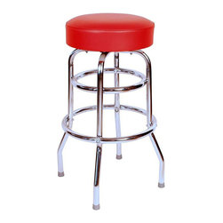 "Richardson Seating - Richardson Seating Retro 1950s 30"" Backless Swivel Bar Stool with Red Seat - Richardson Seating - Bar Stools - 1952RED - Richardson Seating Floridian's Floridian collection ships within 2 business days as quick ship items. The 50's retro look bar stool collection is back with added comfort and stylish design. The Floridian collection are commercial bar stools made in the USA and equally ideal for residential use."