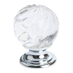 Berenson Decorative Hardware - Berenson Europa Knob  30mm Dia. Clear Crystal -