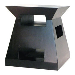 Fusion Nightstand End Table - The Fusion Nightstand End Table has modern stylish appeal. Inspired by modern art this end table is the perfect accent to any contemporary room. This unconventional style features a sleek black finish is made of solid wood and has eye-catching shape and cutout design. The attractive design is contemporary and appealing and the detail is unique and fun. Dimensions: 18W x 18D x 20H inches. About WaybornWayborn Furniture & Accessories Inc. is a leading importer and wholesaler of decorative home accessories located in City Of Industry Calif. In the early years the foundation of Wayborn's business was selling cormandel screens and black lacquer cabinets. Since then it has expanded its line to fulfill the needs of the ever-changing home furnishings trend. Its products are handmade from natural arts and artifacts and are manufactured and imported from China. Wayborn is committed to providing superior service to retailers while maximizing the value of the products it supplies.