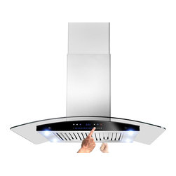 "AKDY - AKDY AK-ZH601C Stainless Steel Island Mount Range Hood, Smoke Glass, 30"", Duct/P - The Island curved glass 30"" range hood offers a fashionable and elegant appearance to your kitchen decor. This tempered, curved glass canopy features high-performance filtering without making a lot of noise. The double-sided sliding control panel gives you ability to control the unit on either side. Kitchen appliance has a duct or ductless application. Recirculation kits and charcoal filter for ductless mode needs to be purchased separately. The high-density dishwasher-safe aluminum baffle filters are easy to remove and clean."