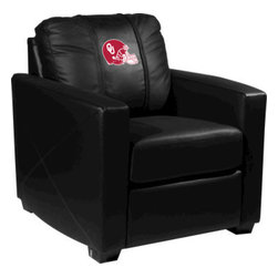 Dreamseat Inc. - University of Oklahoma NCAA Helmet Xcalibur Leather Arm Chair - Check out this incredible Arm Chair. It's the ultimate in modern styled home leather furniture, and it's one of the coolest things we've ever seen. This is unbelievably comfortable - once you're in it, you won't want to get up. Features a zip-in-zip-out logo panel embroidered with 70,000 stitches. Converts from a solid color to custom-logo furniture in seconds - perfect for a shared or multi-purpose room. Root for several teams? Simply swap the panels out when the seasons change. This is a true statement piece that is perfect for your Man Cave, Game Room, basement or garage.