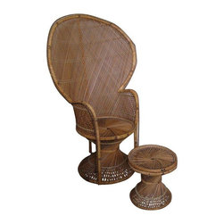 Boho Wicker Peacock Chair & Table Set - Once a favorite for 70s portrait photos, now a fabulously trendy Boho must have! This wicker peacock chair and table set is a most stylish piece to mix in with Modern, Rustic or Eclectic decor. Bring a little timeless Boho into your home, and yes̢���_ it̢���s very comfy! The set is in great shape with slight unraveling on the bottom of the chair on right side. The left side at the bottom is missing 2 inches of blue cane piping. There are no signs of outside wear. Foot Stool: 13̢���_ dia x 14̢���_ dia Chair 41.0�_� w ��� 26.0�_� d ��� 61.0�_� h
