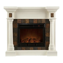 """Home Decorators Collection - Cameron Faux Slate Fireplace - Our Cameron Faux Slate Fireplace is characterized by elegant flanking columns, a mantel with deep counter-edge molding and a firebox border of square faux-slate tiles. Thanks to a collapsible top panel, it can be used as a corner fireplace or along a flat wall. Whether you place it in your living room, dining room or a bedroom, this fireplace offers a look of refinement.  The electric fireplace version of the Cameron Fireplace features realistic LED flames and embers; adjust both temperature and brightness with the included remote control. The gel fireplace version offers the snap and crackle of a wood burning fireplace with none of the mess. It can hold up to three cans of gel fuel simultaneously (fuel not included). Collapsible panel allows use on a flat wall or in a corner. Accommodates a flat panel television of up to 42.5""""W. Mantel supports up to 85 lbs. Electric version includes 6' cord for plugging into a standard outlet. Electric version's remote control takes one CR2025 battery, included. Gel version includes cement logs, faux coal cinders and screen kit."""