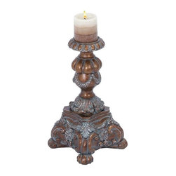 "Benzara - Candle Holder in Dark Gold Finish with Grey Wash - Candle Holder in Dark Gold Finish with Grey Wash. Enhance your home decor in an imperial way with this elegant candle holder. It comes with a following dimensions 8""W x 8""D x 15""H."