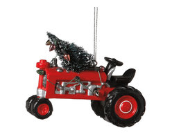 Midwest CBK - Red Tractor with Christmas Tree & Lights Ornament - John Deere Farm Country Gift - Red Tractor with Christmas and Lights Ornament