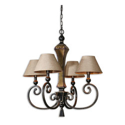 Uttermost - Uttermost 21241 Porano 4-Light Shade Chandelier - Uttermost 21241 Porano 4-Light Shade Chandelier