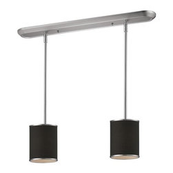 Two Light Brushed Nickel Chocolate Shade Drum Shade Island Light - Elegant and contemporary best describe this beautiful two light fixture. Finished in brushed nickel and paired with chocolate shades, this two light fixture would be equally at home in the game room, or anywhere else in the house needing a touch of timeless charm. Adjustable rods are included to ensure the perfect hanging height.
