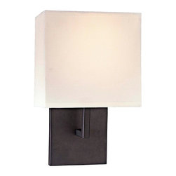"""George Kovacs - George Kovacs Bronze Linen Shade 11 1/2"""" High Wall Sconce - This wall sconce from George Kovacs has a clean crisp look and contemporary appeal. The sleek back plate and angular arm feature a sophisticated bronze finish. The off white linen half shade offers warm light for your surroundings. Bronze finish. Off white linen shade. ADA compliant. Takes one 60 watt bulb (not included). 11 1/2"""" high. 7"""" wide. Extends 4"""" from the wall.  Bronze finish.  Off white linen shade.  ADA compliant wall sconce.  Great for home theater use.  From the George Kovacs lighting collection.  Takes one 60 watt bulb (not included).  11 1/2"""" high.  7"""" wide.  Extends 4"""" from the wall."""