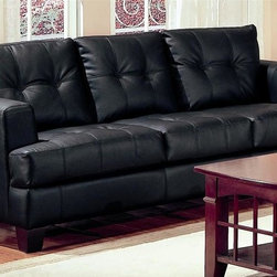 Coaster - Samuel 86 in. Contemporary Sofa (Black) - Choose Upholstery: BlackBonded leather upholstery. Sleek track arm. High plush tufted back. Tufted deep T-cushions and center box seat cushion. Square tapered wood legs. Solid hardwood frame. Sinuous spring base. Pocket coil cushion. 86 in. L x 38 in. W x 36 in. H. WarrantyThis contemporary bonded leather sofa will be a gorgeous addition to your living room. This piece will blend beautifully with your contemporary living room decor.
