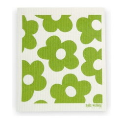 Swedish Dishcloth Blommer Flowers, Green - THE SWEDISH ECO-FRIENDLY DISHCLOTH: The dry sponge cloth was invented in 1949 by the Swedish engineer Curt Lindquist, who discovered that a mixture of natural cellulose (wood pulp) and cotton can absorb an incredible 15 times its own weight in water.