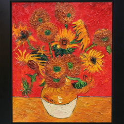 overstockArt.com - Vincent Van Gogh - Sunflowers (Artist Interpretation Red) Oil Painting - Designed by Amit Yaari this is a hand painted oil interpretation of the most famous Van Gogh painting , Sunflowers. The original masterpiece was created in 1888. The series of sunflower paintings reminded him of the happy days spent in a yellow house with another artist. The painting series was intended to decorate Gauguin's bedroom, but only two where worthy to hold Van Gogh's signature. Van Gogh's Sunflower painting is part of a series of still life oil paintings. Among the paintings are three similar paintings with fifteen sunflowers in a vase, and two similar paintings with twelve sunflowers in a vase. Van Gogh began painting the works in late summer 1888 and continued into the following year. The paintings show sunflowers in all stages of life, from fully blossomed to withering. The paintings are considered innovative for their exclusive use of the yellow spectrum. Vincent Van Gogh's restless spirit and depressive mental state fired his artistic work with great joy and, sadly, equally great despair. Known as a prolific Post-Impressionist, he produced many paintings that were heavily biographical. This work of art has the same emotions and beauty as the original by Van Gogh. Why settle for a print when you can add sophistication to your rooms with a beautiful fine gallery reproduction oil painting?