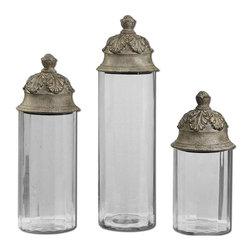 Uttermost - Uttermost Acorn Canisters Set of 3 - 19714 - -Clear glass cylinders topped with textured brown lids with a heavy tan glaze