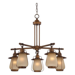 Franklin Iron Works - Windmere Lantern Glass Chandelier - I think this lantern chandelier would be fantastic in a nautical room, but its industrial look could work in so many interior applications. I'm loving the warm glow of the antiqued brass finish too.