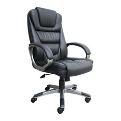 BOSS Chair - Executive Leather Armchair In Black Leather w - Choose Option: w/o Knee TiltSink into the comfort of this ultra-soft, super-comfortable executive leather arm chair. It boasts a stunning cascading upholstery design that not only adds visual appeal but also helps you maintain the right posture, while eliminating leg fatigue. A stunning combination of chrome frame and black LeatherPLus upholstery results in an ergonomic masterpiece. No tools required for assembly. Beautifully upholstered with LeatherPlus. Softness and durability. Waterfall seat design eliminates leg fatigue. Ergonomic back design with lumbar support. Upright locking position. Adjustable tilt tension. Pneumatic gas lift seat height adjustment. Optional knee-tilt mechanism available model (B8602). Assembly required. Cushion color: Black. Base/wood: Chrome. Seat size: 21 in. W x 19.5 in. D. Seat height: 20 in. -23.5 in. H. Arm height: 27.5 in. -31 in. H. Overall dimension: 27 in. W x 28 in. D x 45-48.5 in. H. Weight capacity: 250 lbs