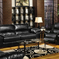 Jackson Furniture - Jetson 2 Piece Sofa, Loveseat Set in Black Leather - 4246 - Jetson Collection