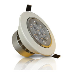 TorchStar - AC 85-265V 7Watt Directional LED Recessed Ceiling Light Downlight, Warm White - Recessed ceiling light with 7 X 1 Watt high power LEDs. 85-265V AC opeartion. Warm white and daylight available, with medium spot 45 degree beam angle.
