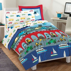 None - Big City Twin-size 5-piece Bed in a Bag with Sheet Set - This set's adorable comforter features transportation imagery and a city skyline in vivid colors of red,nautical blue,sunshine yellow,grass green,sky blue,white,black and grey. The sheets display multicolored vehicles on a crisp white background.