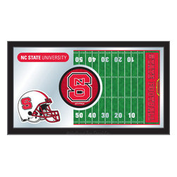 "Holland Bar Stool - Holland Bar Stool North Carolina State Football Mirror - North Carolina State Football Mirror belongs to College Collection by Holland Bar Stool The perfect way to show your school pride, our Football Mirror displays your school's symbols with a style that fits any setting.  With it's simple but elegant design, colors burst through the 1/8"" thick glass and are highlighted by the mirrored accents.  Framed with a black, 1 1/4 wrapped wood frame with saw tooth hangers, this 15""(H) x 26""(W) mirror is ideal for your office, garage, or any room of the house.  Whether purchasing as a gift for a recent grad, sports superfan, or for yourself, you can take satisfaction knowing you're buying a mirror that is proudly Made in the USA by Holland Bar Stool Company, Holland, MI.   Mirror (1)"