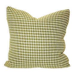 Acapillow - Houndstooth Pillow - Make the old new again by dressing up your midcentury leather couch with this oversized pillow made with vintage houndstooth check fabric. The zipper closure on the natural hemp backside means the cover is easy to remove for dry cleaning.
